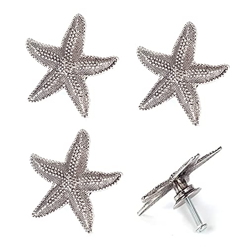 4Pcs Starfish Knobs Dresser Knobs Furniture Hardware Handles Beach Ocean Theme Ancient Tin Decorative Handle Cabinet Knobs Wardrobe Pulls