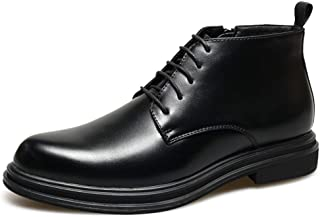 PengCheng Pang Combat Boot for Men Ankle Shoes Lace Up with Side Zipper Microfiber Leather Block Heel Point Toe Youth Tide Outdoor Solid Color (Color : Black, Size : 6.5 UK)