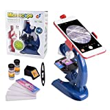 HONPHIER Microscope for Children LED Kids Microscope Kids Toys 100x 400x 1200x Magnification Microscopes Kit with Adjustable Mobile Phone Holder