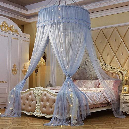 Piner Home Grote elegante muskietennetten voor zomer Hangend kind Beddengoed Rond koepelbed Luifel Gordijn Bed Tent met nachtlampje, grijs, universeel