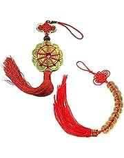 PPX 2 Unids Monedas Chinas de la Suerte Nudo Chino Monedas Feng Shui Monedas I-Ching de Recuerdo Monedas Tradicionales con Cadena Roja para la Riqueza y el Éxito Buena Suerte y Saludable