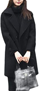 Macondoo Women Winter Lapel Outwear Casual Mid-Long Pea Coats
