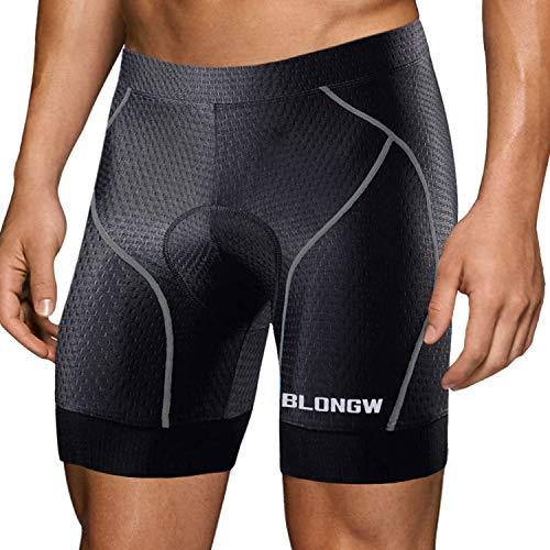 Men's Cycling Shorts Padded Bicycle Riding Pants Bike Biking Clothes Cycle Wear Tights(Black+Grey, Large)