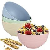 Ciotola per cereali infrangibile-Set di 4 ciotole per zuppa di paglia di grano-Ciotola per la colazione,ciotola grande da 15 cm e sana per i bambini, Lavabile in lavastoviglie e adatta al microonde