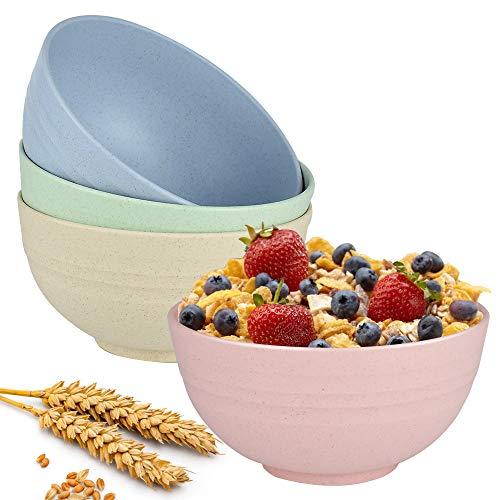 Tazón de cereal irrompible - Juego de 4 tazones de sopa de paja de trigo - Cuenco de desayuno, tazón grande y saludable para niños, pastel de aperitivo o postre - Apto para lavavajillas y microondas