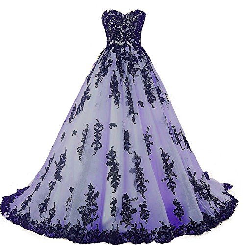 Plus Size Gothic Black Lace Ball Gown Long Prom Dress Wedding Gowns Lavender US 16W (Apparel)