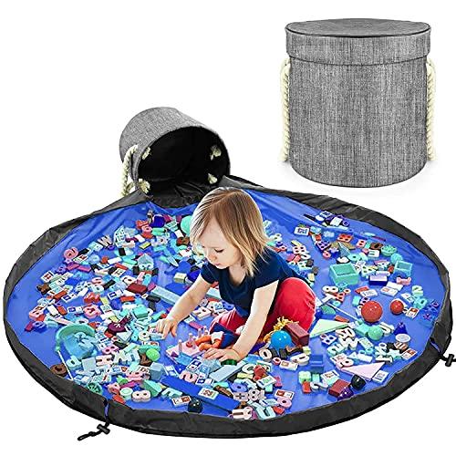 Saco de limpieza para niños, cesta de almacenamiento de juguetes, con tapa, para organizador de Lego, bolsillos, portátil, 150 cm