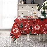 LinTimes - Mantel de tela con estampado de renos, a prueba de aceite y al agua, cuadrado, para decoración de Navidad, 52 x 52 pulgadas, cuadrado