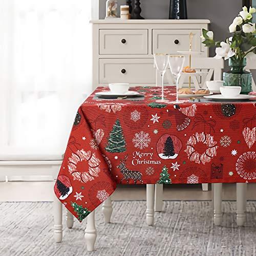 LinTimes - Mantel con motivos navideños impermeable y lavable ideal para Navidad, vacaciones, cumpleaños, bodas, fiestas, etc.