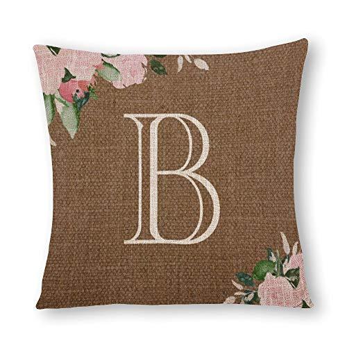 perfecone - Funda de almohada de algodón con diseño de flores de arpillera doble monograma para sofá y coche, 1 paquete de 60 x 60 cm