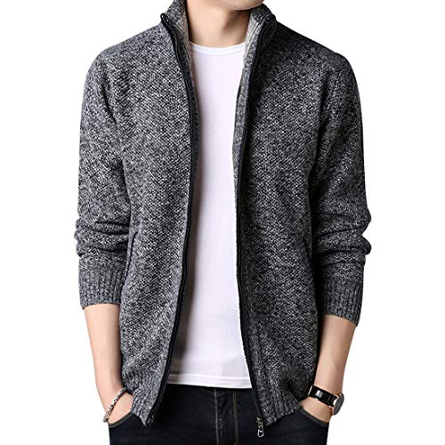 Yeokou Men's Casual Slim Fit Full Zip Thick Knit Cardigan Sweaters with Pockets Dark-Grey L