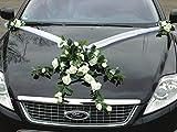 Autoschmuck Décorations de voiture de mariage réalisées à partir de roses et de dentelle Blanc.