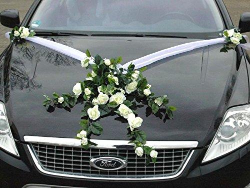 Autoschmuck Spitze STRAUß Auto Schmuck Braut Paar Rose Deko Dekoration Hochzeit Car Auto Wedding Deko PKW (Weiß)