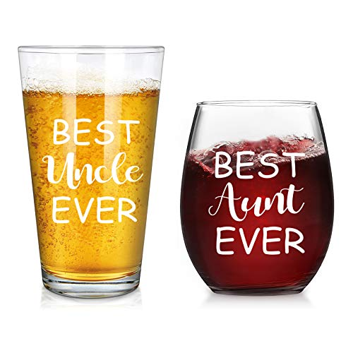 Modwnfy Uncle and Aunt Beer Glass and Stemless Wine Glass Set for Men Women Newlywed Couple Aunt Uncle,Perfect Present Set for Birthday Anniversary Wedding Engagement Valentine's Day,15 Oz,Transparent