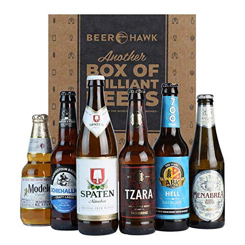 Beer Hawk World Lager Selection – 6 Beer Mixed Case Gift Set - Perfect Lager Beer Gift Set for this Father's Day
