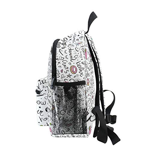 Chic Houses Donuts Heart Star Mini Casual Packback Pattern Pink Diamond Red Lips Hand Painted Creative Toddler Bookbag School Bag for 3-8 Years Old Boys Girls Kids Preschool Backpack 2030391