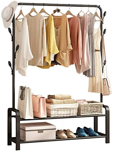 Grade one Garment Rack Free-standing Clothes Rack with Top RodMultifunctional Double Layer Storage Shelves and 8 Hooks Black