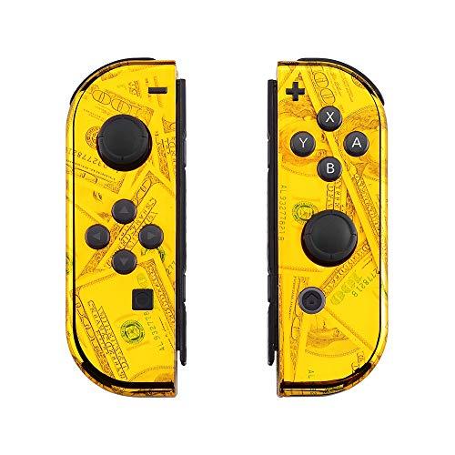 eXtremeRate Coques avec Kit de Boutons pour Nintendo Switch NS JoyCons Manette Contrôleur,Housse de Protection DIY Remplacement(Pas de Coque de Console)-100 Dollar Chromé Doré