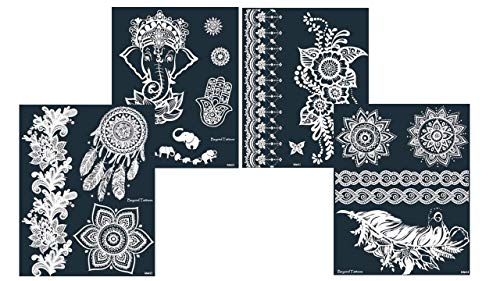 Mikronetz Tattoo Schablonen/Vorlagen für Körperbemalung selbstklebend einfach und wiederverwendbar 4 Sheet set Aisha