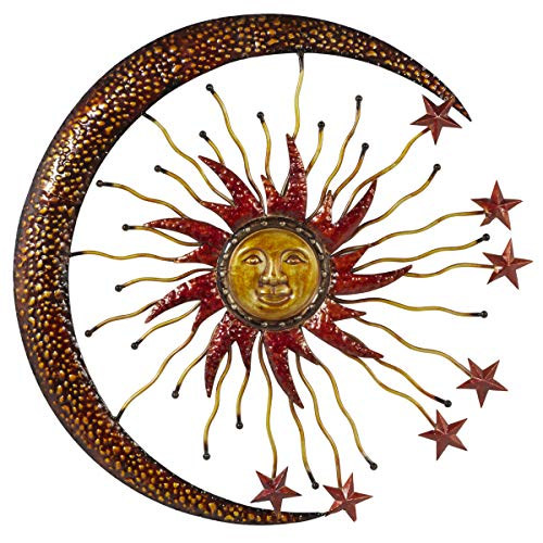 Deco 79 Eclectic Celestial-Themed Metal Wall Decor, 36'Diameter, Copper and Gold Finishes