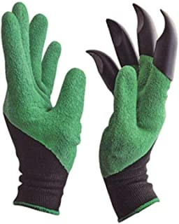 FreshDcart Heavy Duty Garden Farming Gloves Washable with Right Hand Fingertips ABS Claws for Pruning, Digging & Planting,...