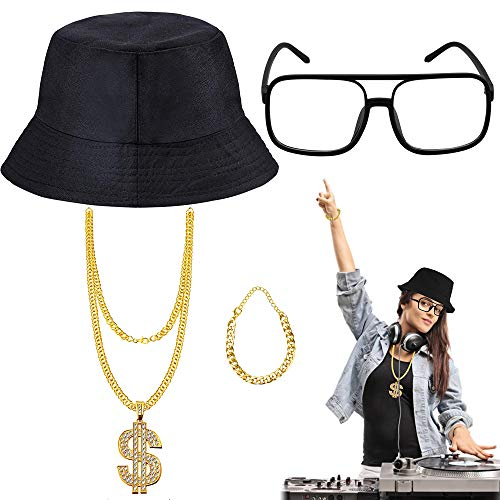 EMAGEREN 4pcs 80er / 90er Jahre Hip Hop Kostüm Kit Old Style Coole Rapper Outfits - Bucket Hat übergroße Schwarze Sonnenbrille Gold Plated Chain (A)
