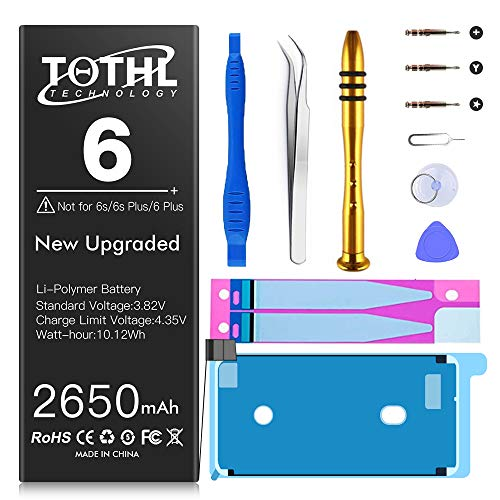 Battery for iPhone 6 Replacement, 2650mAh Upgraded New Li-ion Batteria for A1549 A1586 A1589 with Full Set Repair Tool Kit Adhesive Instructions