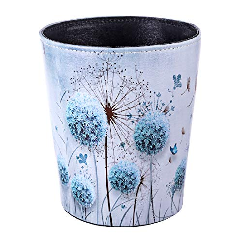 Haoun PU Leather Wastebasket,2.6 Gallon Retro Decorative Trash Can Waste Paper Basket Kitchen Garbage Can Living Room Waste Container Office Waste Bin Bedroom Recycle Bin (Blue Dandelion)