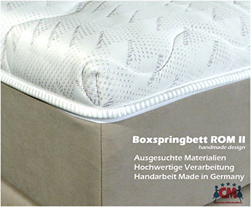 Boxspringbett ROM II. Manufaktur Design. Beige. 180x200 cm. Härtegtrad H2 und H3 frei wählbar. Made in Germany.