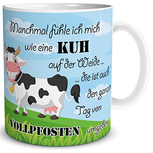 TRIOSK Tasse Kuh lustig mit Spruch Vollpfosten Kuhmotiv Geschenk für Kuhliebhaber Arbeit Büro Frauen Freundin Kollegin