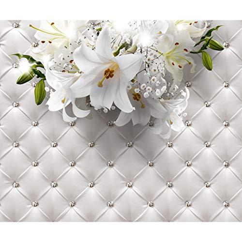 decomonkey | Fototapete Blumen Leder 400x280 cm XL | Tapete | Wandbild | Wandbild | Bild | Fototapeten | Tapeten | Wandtapete | Wanddeko | Wandtapete | Lilien Lederoptik weiß