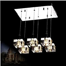 GOWE modern brief 12V G4 LED Bulbs crystal cube light rectangle crystal pendant lights with 6-lights for dining room bar c...