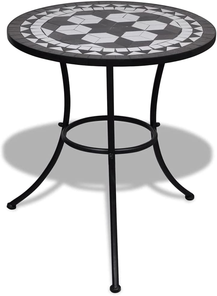 Beyamis outlet Bistro Table Black Super intense SALE White Mosaic and 23.6
