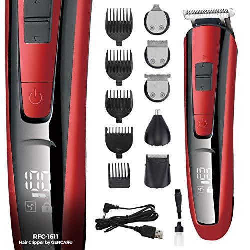 GERCAR RFC-1611 kabelloser Multi-Grooming-Set Haarschneider 10-in-1 - Bartpflege für Herren, Haartrimmer für Haare Ohren Nasen Bart und Body-Rasuren Set - Bartschneider und Barttrimmer rot/schwarz