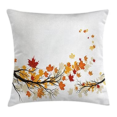 Ambesonne Fall Throw Pillow Cushion Cover, Swirling Bended Fall Tree Branches with Colored Leaves Pastoral Season Theme, Decorative Square Accent Pillow Case, 20 X 20 Inches, Marigold Dark Orange
