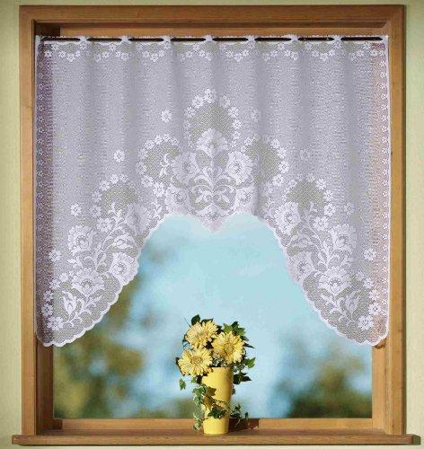 Gardinen, Vorhang, Jacquard Fensterbild in M-Bogenform. mit Stangendurchzug, Farbe Weiß, Höhe 95cm x Breite 120cm, für Fensterbreite 90-110cm