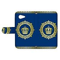 スマQ AQUOS ZETA SH-04H 国内生産 カード スマホケース 手帳型 SHARP シャープ アクオス ゼータ 【D.ブルー】 王冠とレース シンプル ami_vd-0248