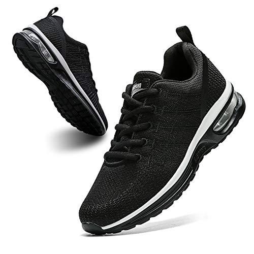 BUBUDENG Zapatillas Casual para Deporte Mujer de Senderismo para Mujer, de Malla Ligera, Transpirables, cómodas Zapatos para Caminar Mesh Running Transpirable Aumentar Más Altos Sneakers,Negro,EU35