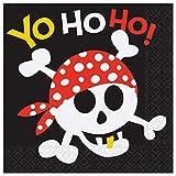 Unique Party 40492 - 13 cm Tovaglioli di Carta per Feste a Tema Pirati, Confezione da 16
