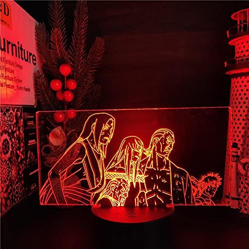 Luz de noche 3D para niños, Nartuo Terumi Mei Ohnoki Raikag Anime LÁMPARA Led 7 Color Cambio Noches Naruto Shippuden Visual Lampara Iluminación para Dormitorio Regalo de Navidad Control Remoto