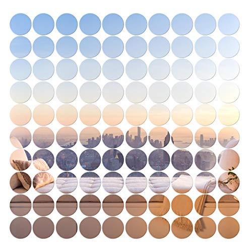 VORCOOL 100 Stück Runder Spiegel Wandaufkleber Abnehmbare Wandbild Kunst Aufkleber Wandtattoo Haus Deko (2x2cm, Silber)