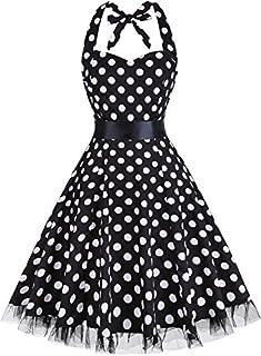 OTEN Women's Vintage Polka Dot Halter Dress 1950s Floral Sping Retro Rockabilly Cocktail Swing Tea Dresses