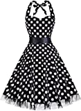 OTEN Womens Vintage Halter Floral 50s 60s Retro Rockabilly Sewing Cocktail Prom Dresses, Large, Black Polka Dot