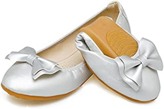 LaBiTi Womens Pointy Toe Solid Plain Ballet Flat Buckle Slip On Walking Flats Shoes
