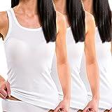 HERMKO 1325 Lot de 3 Longshirts 100% Coton Biologique débardeurs pour Femme pour Sens Dessus Dessous, Couleur:Blanc, Taille:42/44 (M)