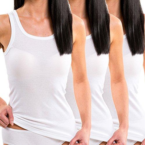 HERMKO 1325 3er Pack Damen Longshirt ideal für drüber und drunter (Weitere Farben) aus 100% Bio-Baumwolle, Farbe:weiß, Größe:56/58 (XXXL)