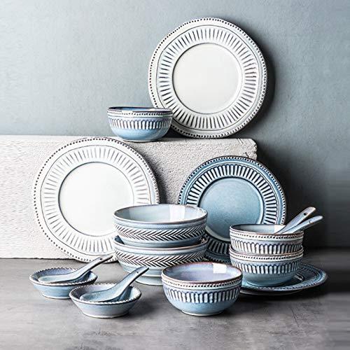 De vajilla de cerámica, 16 piezas de vajilla de porcelana artesanal en relieve | Plato de carne y cuenco de sopa retro azul y blanco para restaurante especial