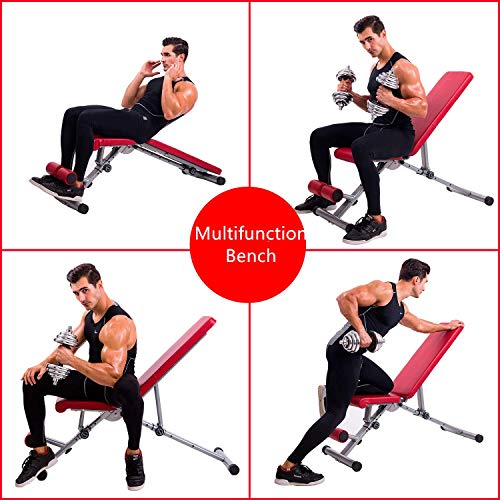 Magic Fit Adjustable Weight Bench Utility Exercise Workout Bench Flat/Incline/Decline Bench Press for Home Gym Red