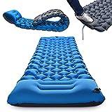 Materassino da campeggio autogonfiabile con pompa a pedale, resistente all'umidità, materassino da campeggio gonfiabile, ideale per campeggio e spiaggia (azzurro cielo)
