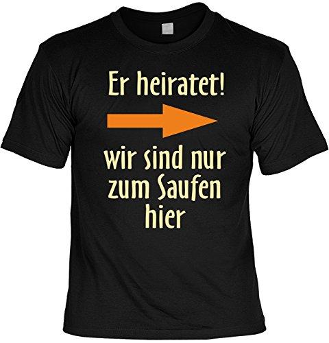 Junggesellenabschied witziges Shirt für Junggesellenfeier Ehe JGA Shirts JGA Outfit JGASHIRT Polterabend Hochzeit - ER heiratet, Schwarz, L